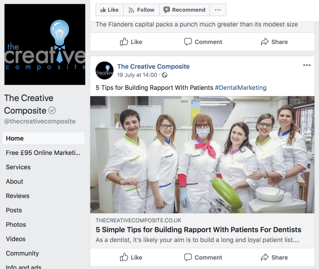 create dental facebook page